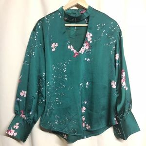 Tops - ELLI WHITE Green Floral Long Sleeve Top